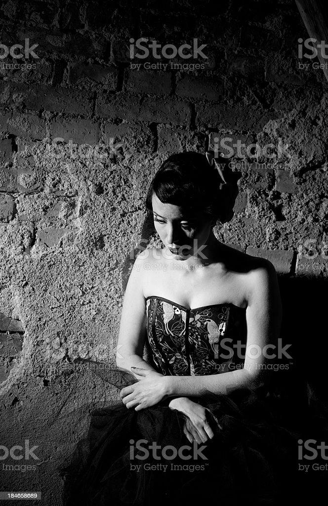 Gothic woman in attic stock photo