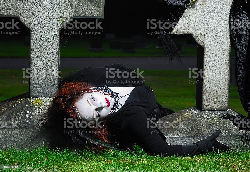 Gothic Woman in Cemetery royalty-free stock photo