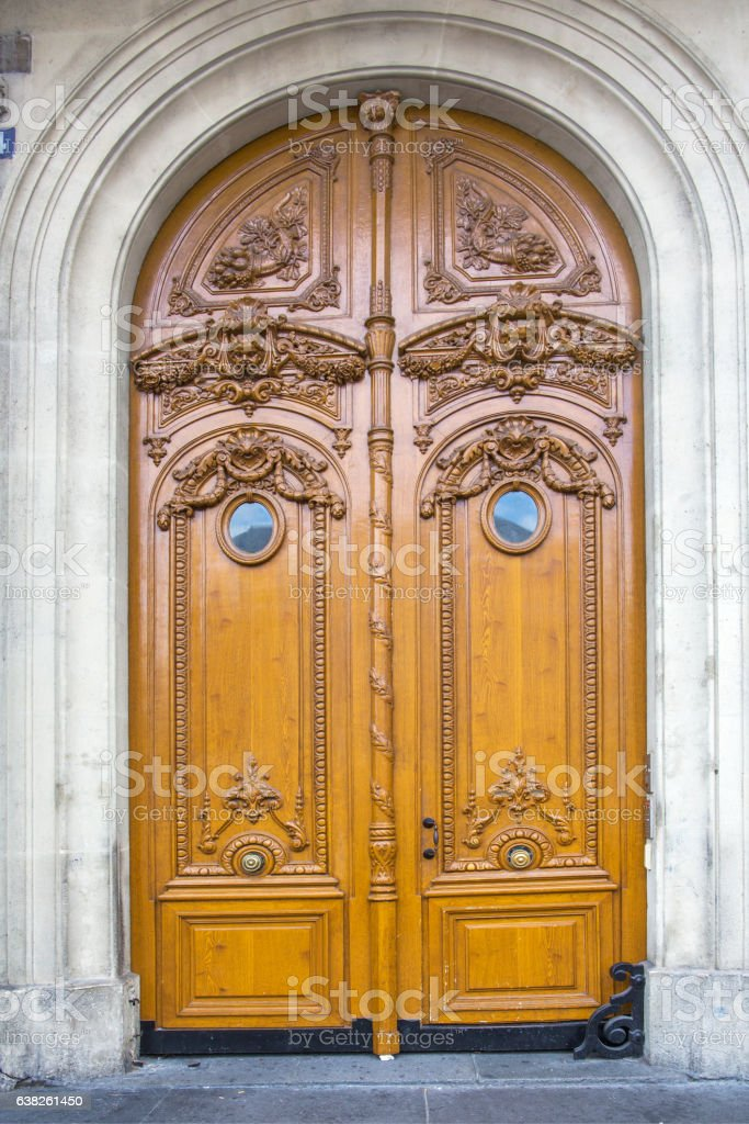 gothic wooden doors, broken arch stock photo