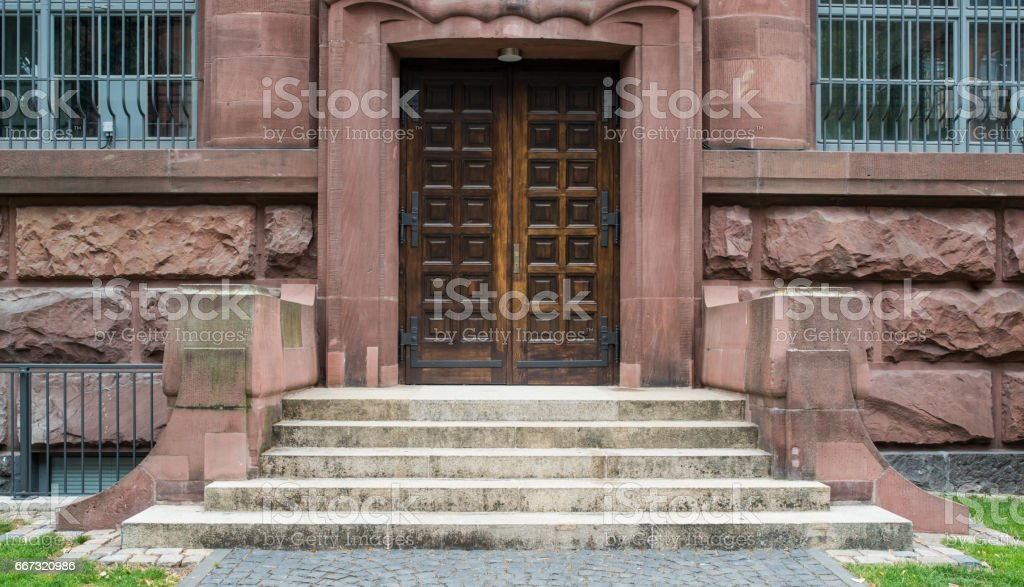 Gothic wooden old church door stock photo