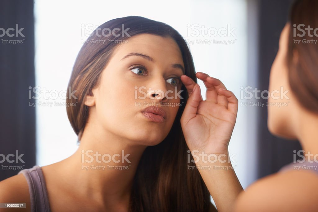 Gotta make sure I look good before my night out stock photo