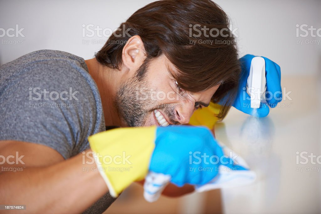 Gotta makes sure everything is perfectly clean stock photo
