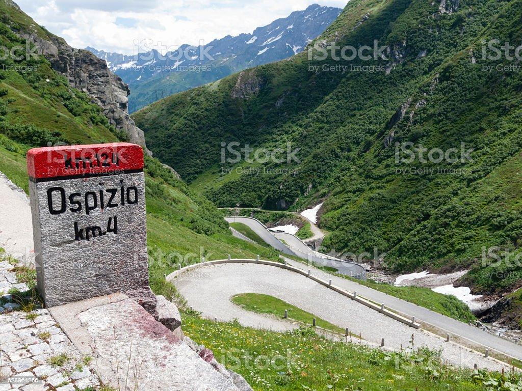 Gotthard / San Gottardo Pass road stock photo