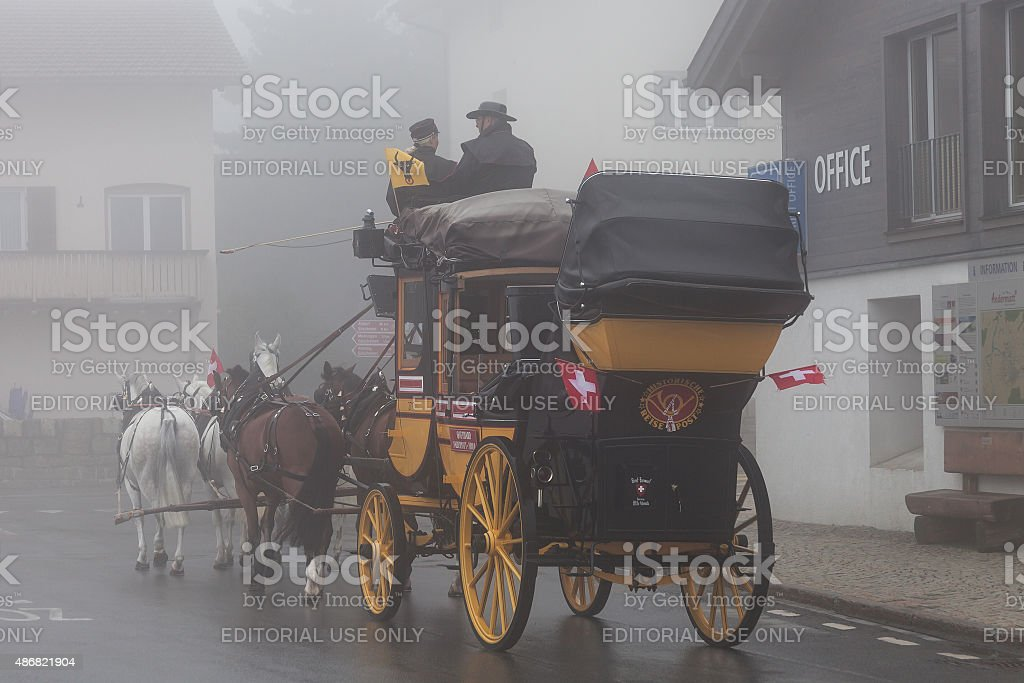 Gotthard stagecoach stock photo
