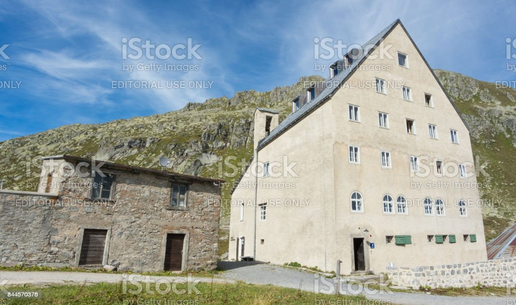 Gotthard, Switzerland. Hospice at the mountain pass stock photo