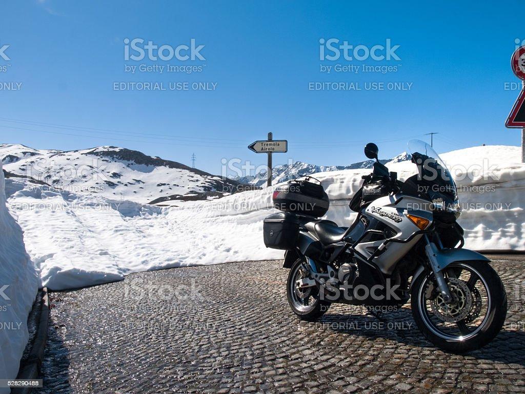 Gotthardpass, Beautiful sunny spring day stock photo