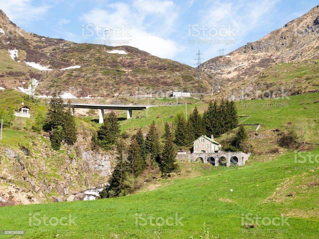 Gotthardpass, panorama of the region stock photo
