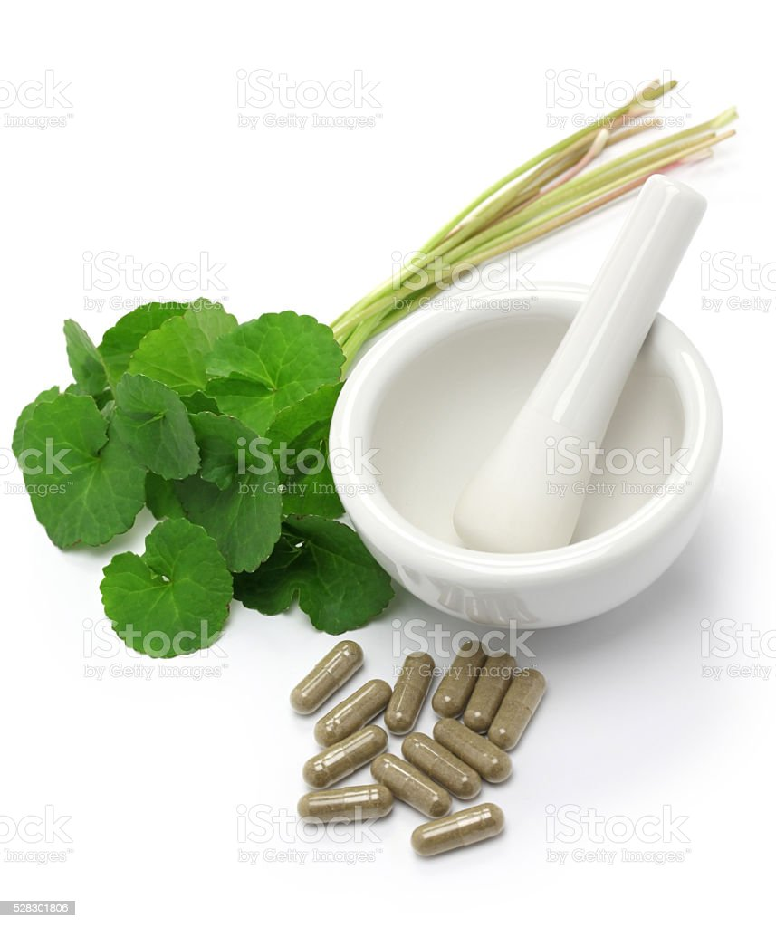 gotu kola supplement, mortar and pestle stock photo