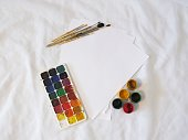 gouache and watercolor paints