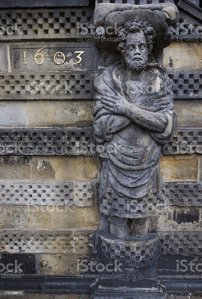 Gouda Statue and Facade royalty-free stock photo