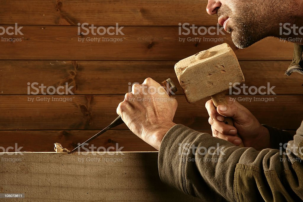 gouge wood chisel carpenter tool hammer hand royalty-free stock photo