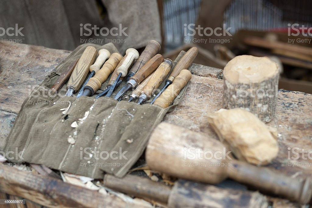 gouges and chisels for woodworking isolated in blur stock photo