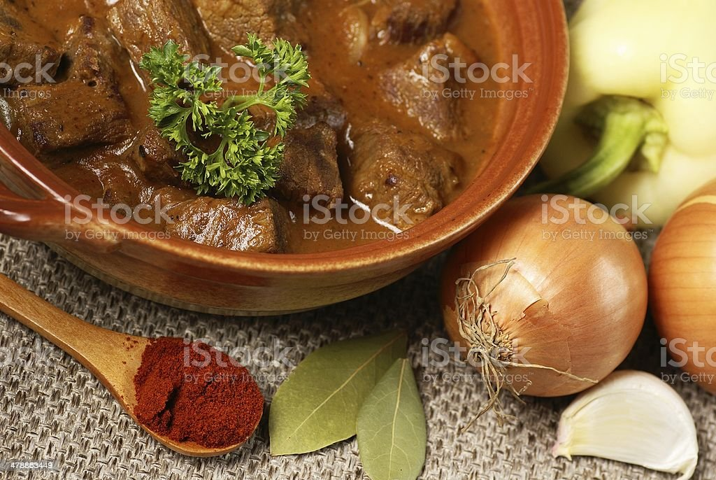 Goulash and ingredients royalty-free stock photo