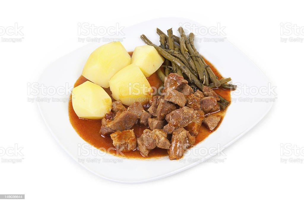 goulash, beans and potatoes stock photo