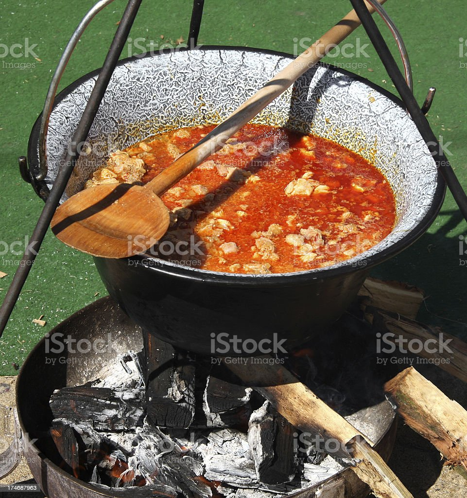 goulash cooking outdoor royalty-free stock photo
