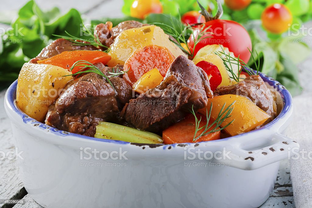 goulash meat with vegetables and potatoes royalty-free stock photo
