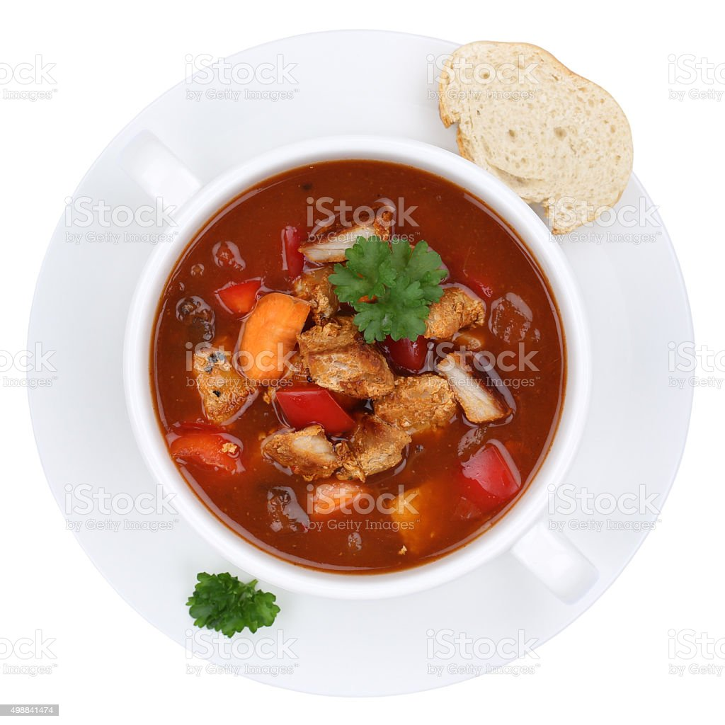 Goulash soup with meat and paprika cup isolated from above stock photo