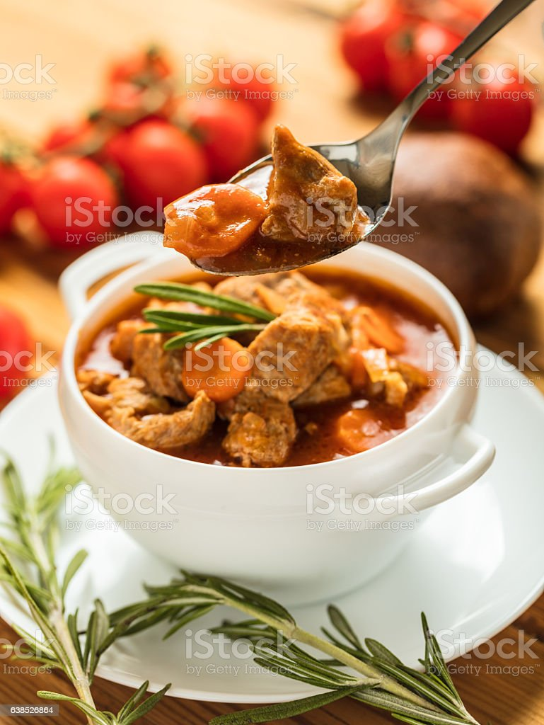 goulash with pieces of meat stock photo