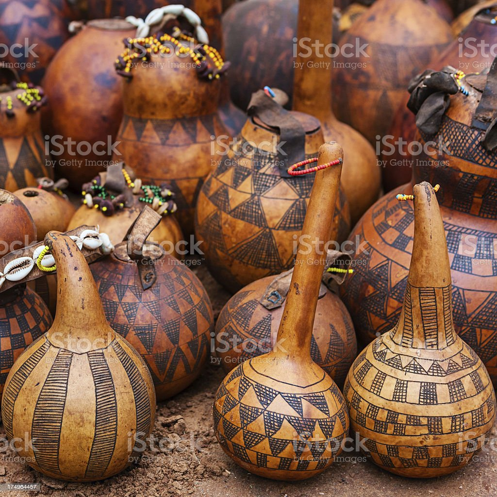 Gourd containers for sale, Ethiopia, East Africa stock photo