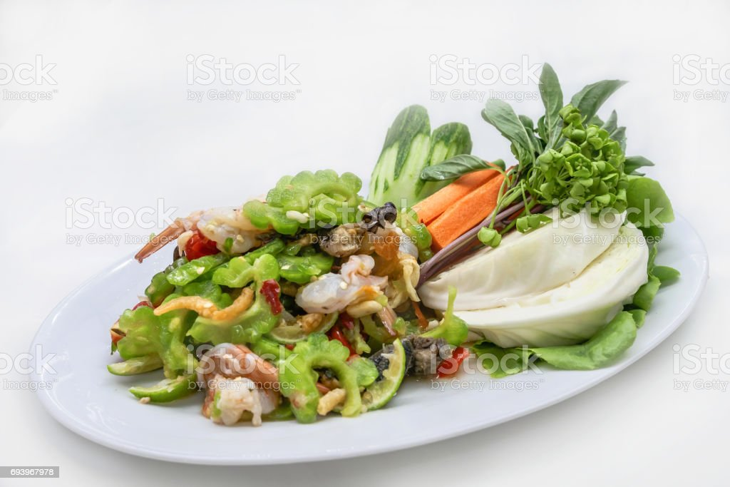 Gourd salad, spicy green gourd salad with fresh shrimp stock photo