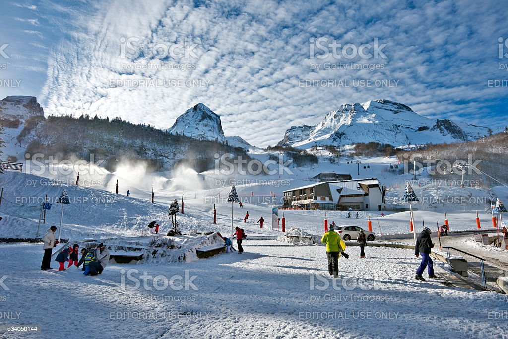 Gourette winter sport resort in Bearn Pyrenees stock photo