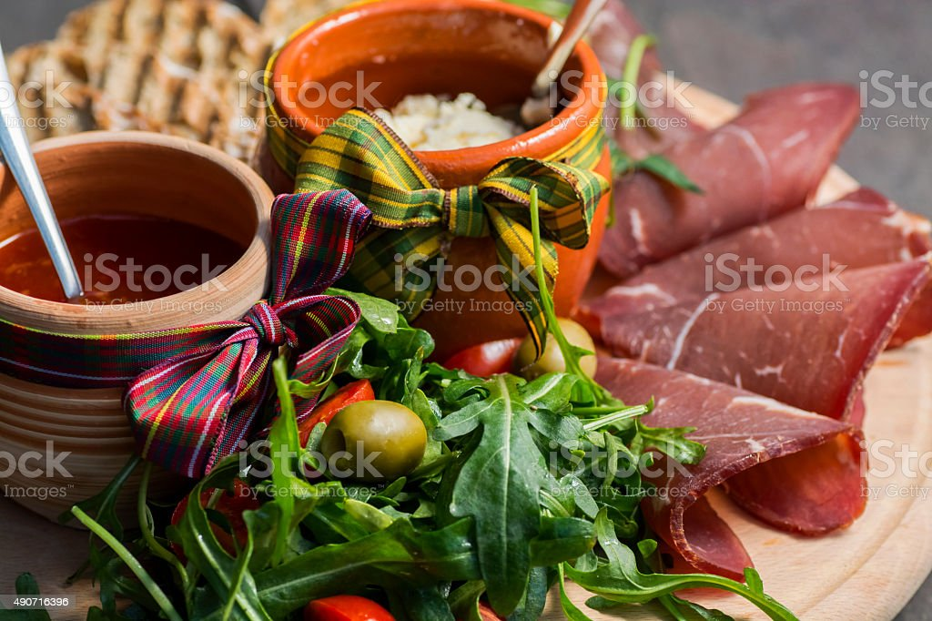 Gourmet appetizer plate royalty-free stock photo