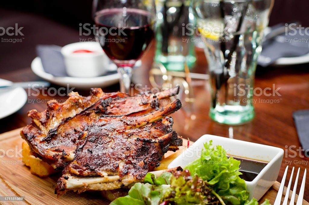 Gourmet Barbeque Ribs, Red Wine stock photo