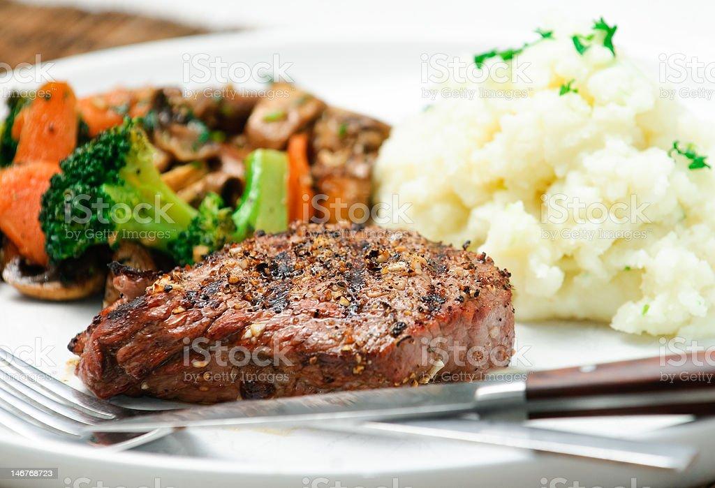Gourmet BBQ Steak Dinner royalty-free stock photo