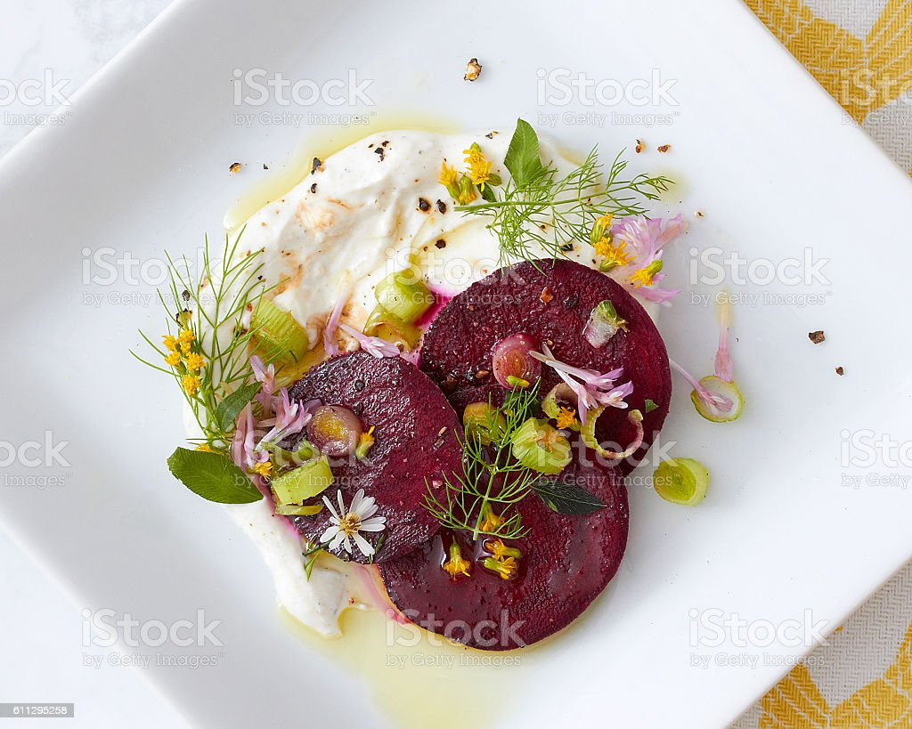 Gourmet Beet Salad Close Up stock photo