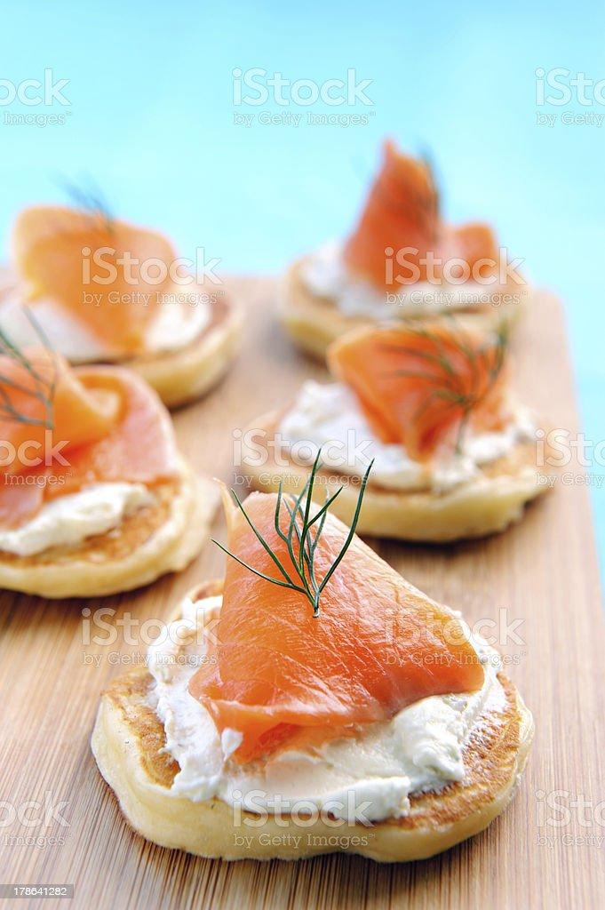 Gourmet bite size snacks stock photo