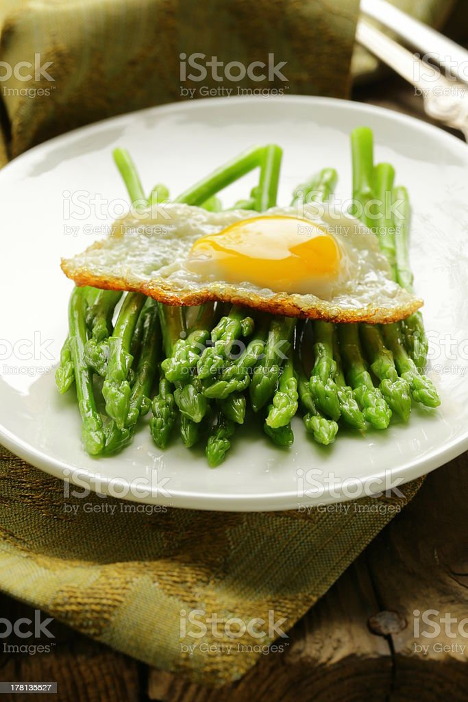 gourmet breakfast - asparagus with fried egg royalty-free stock photo