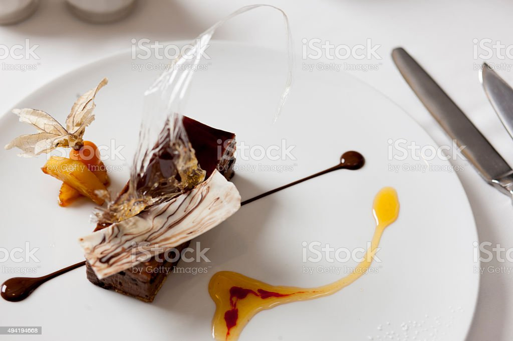 gourmet brownie dessert stock photo