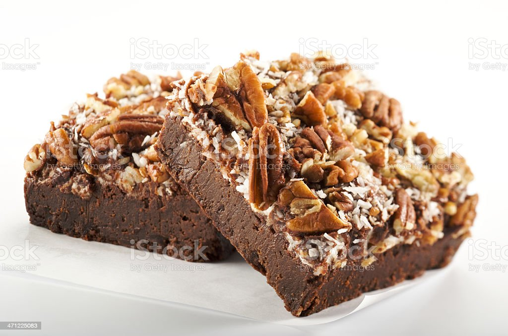 Gourmet Brownies with Nuts stock photo