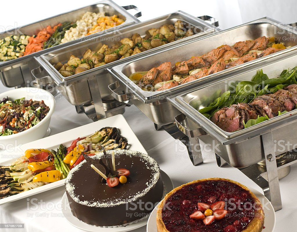 Gourmet buffet with hot and cold dishes stock photo