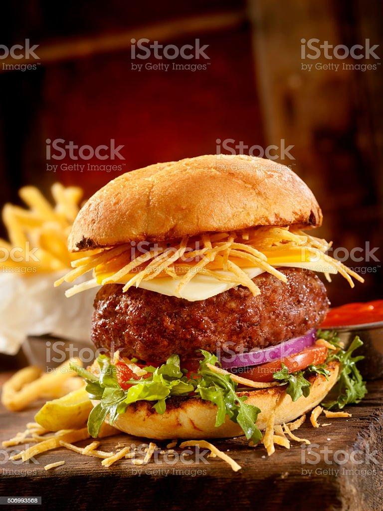 Gourmet Burger and Fries stock photo