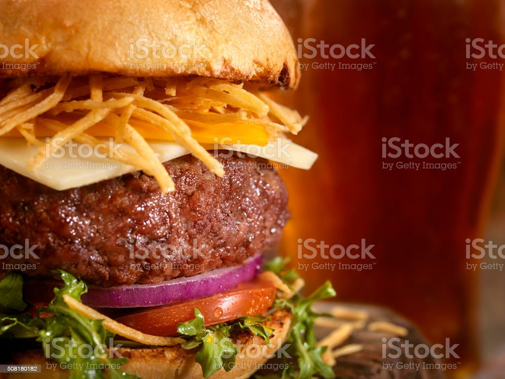Gourmet Burger, Fries and a Beer stock photo