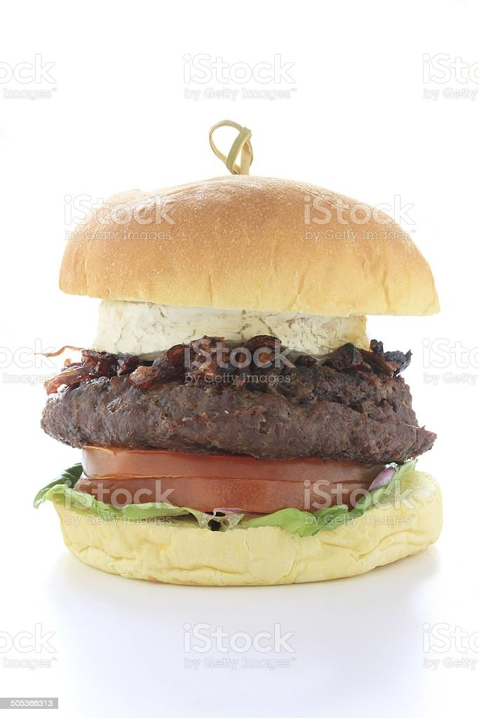gourmet burger ispolated on white background stock photo