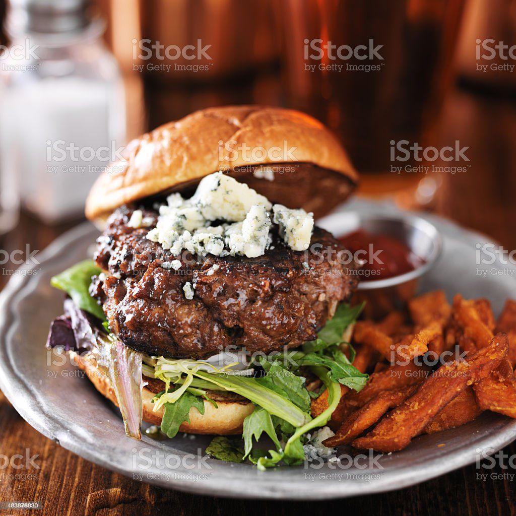 gourmet burger with blue cheese stock photo