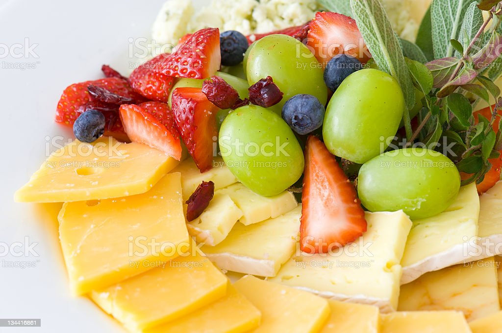 Gourmet Cheese and Fruit Tray Platter stock photo