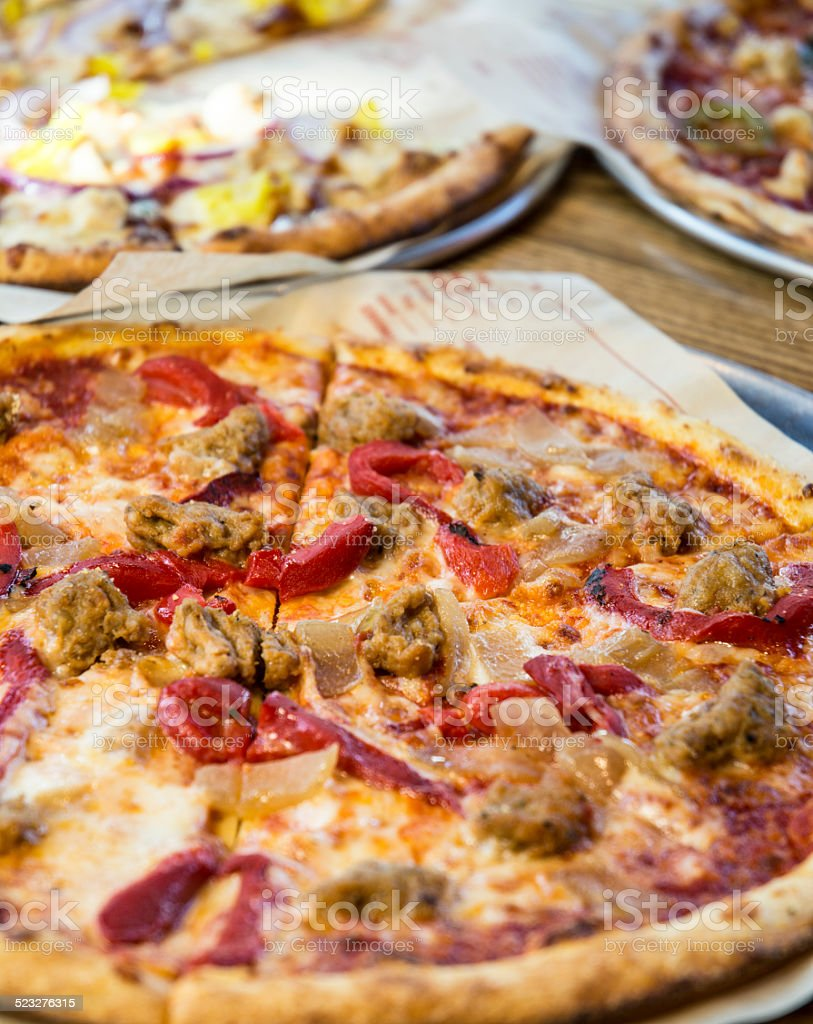 Gourmet Cheese And Meat Pizza Macro stock photo