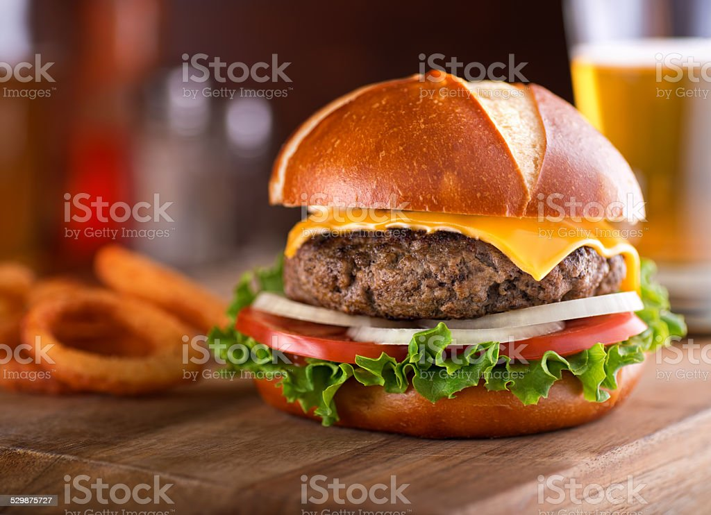 Gourmet Cheeseburger Pretzel Bun stock photo