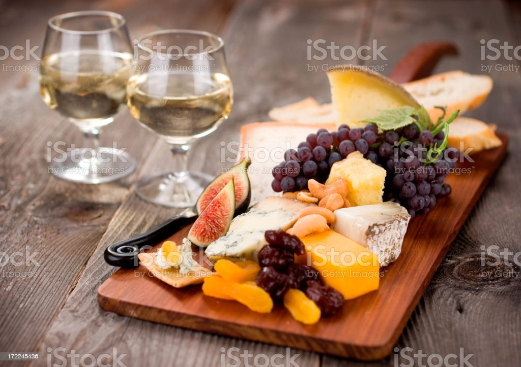 Gourmet Cheeseplate with Wine royalty-free stock photo