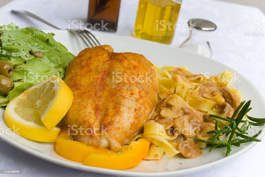Gourmet Chicken Breast with Taglatelle 5 royalty-free stock photo