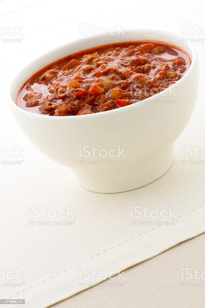 Gourmet chili beans with extra lean beef royalty-free stock photo