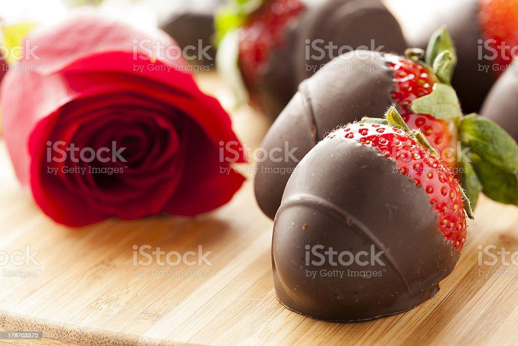 Gourmet Chocolate Covered Strawberries stock photo