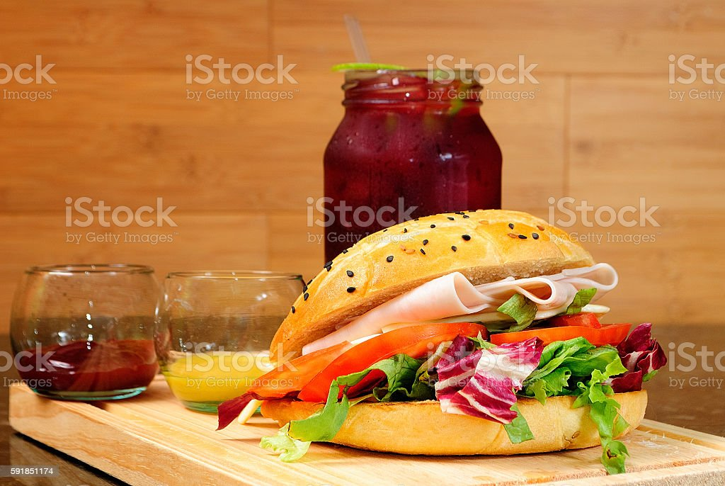 Gourmet croissant tea and vegetables stock photo