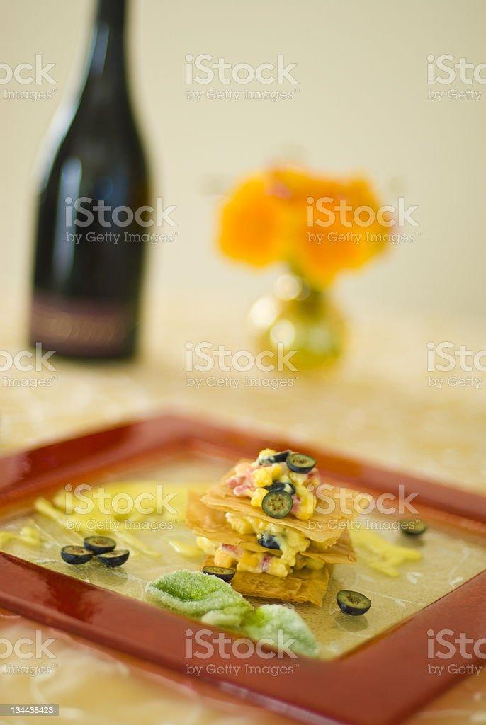 Gourmet Dessert Layered Fruit Tart stock photo