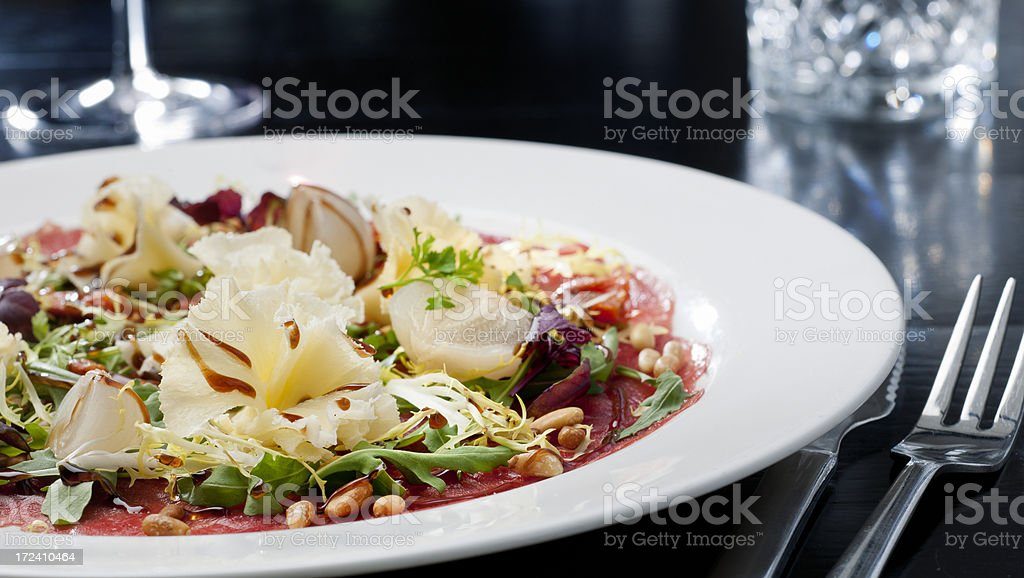 gourmet dish of carpaccio royalty-free stock photo