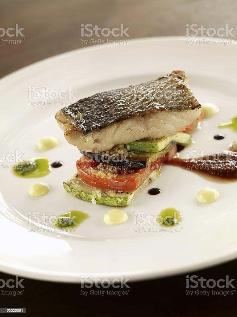 gourmet fish dish stock photo