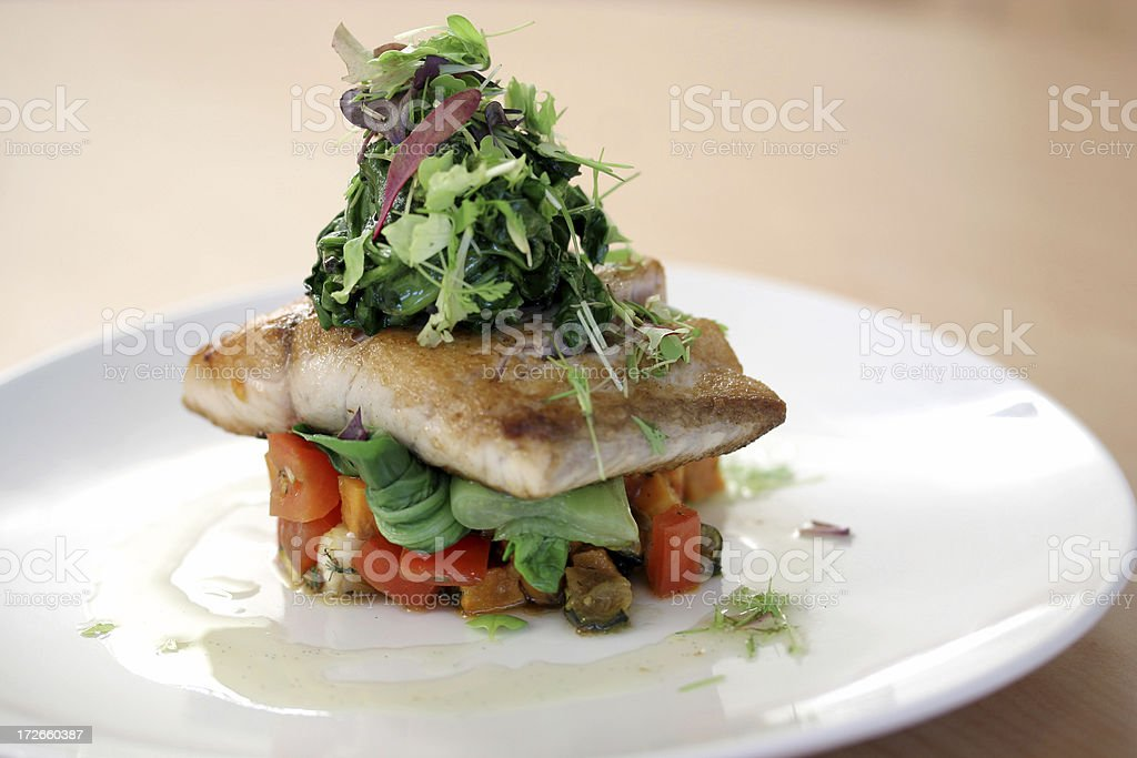 Gourmet Fish Lunch or Dinner royalty-free stock photo
